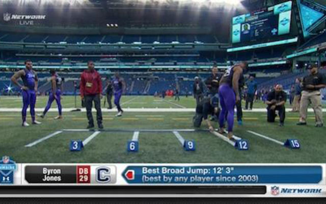 UConn DB Byron Jones shatters combine record with 12'3″ broad jump