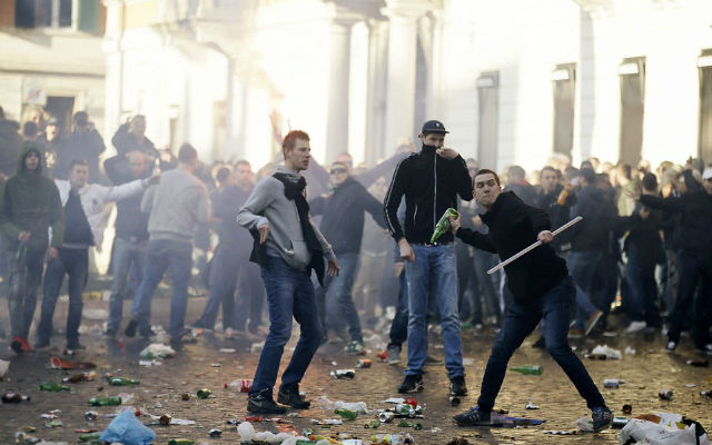 (Images) Feyenoord hooligans cause havoc in Rome as clashes with Italian police turn ugly
