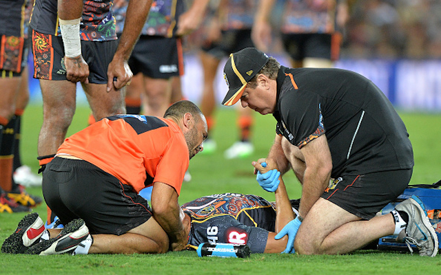 South Sydney Rabbitohs forward out indefinitely after suffering spinal injury in NRL All Stars clash