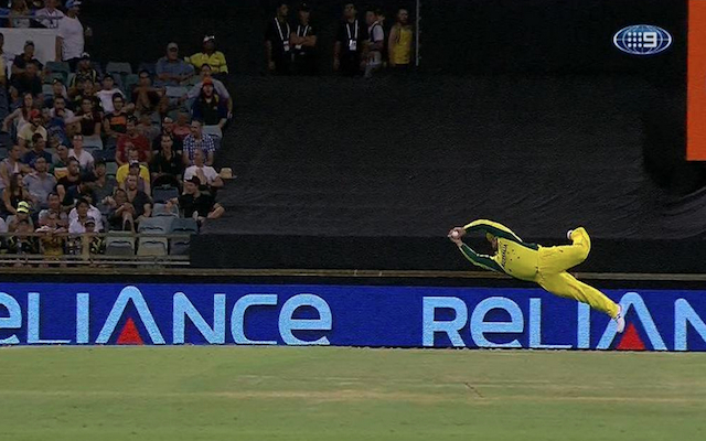 (Video) Wow! Australia star Aaron Finch takes incredible diving catch in Cricket World Cup clash with Afghanistan