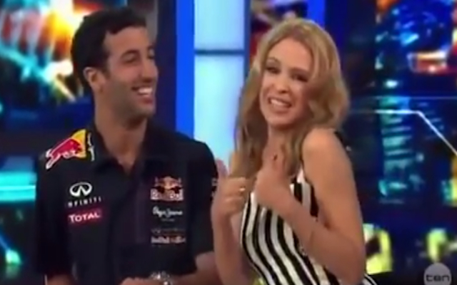 (Video) Red Bull F1 star Daniel Ricciardo left gushing following request by Aussie pop queen Kylie Minogue