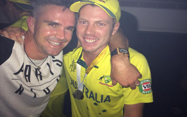 The new John Terry: Kevin Pietersen pictured celebrating with victorious Australian cricket side