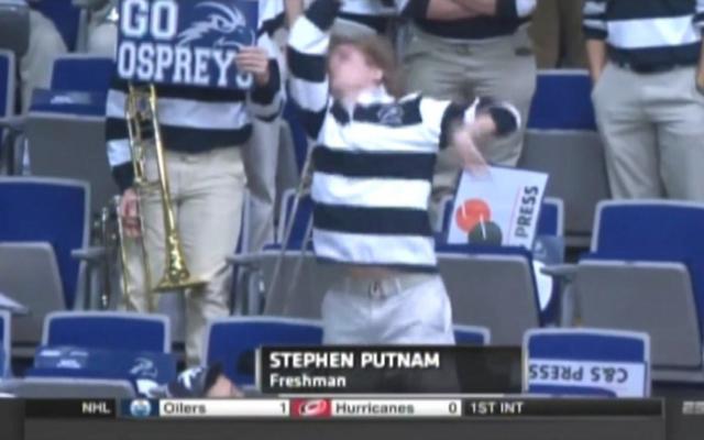 (Video) NCAA March Madness 2015: Crazy North Florida band member Stephen Putnam gets pumped vs Robert Morris!