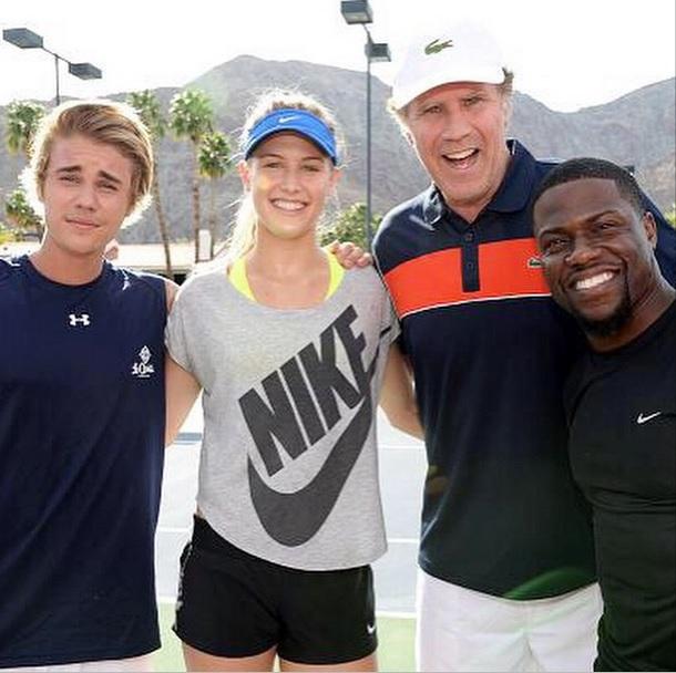 Tennis celebrity event Justin Bieber Eugenie Bouchard Will Ferrell Kevin Hart