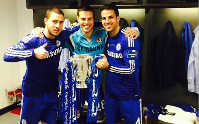 (Image) Champions!!! Chelsea stars loving life after Capital One Cup win