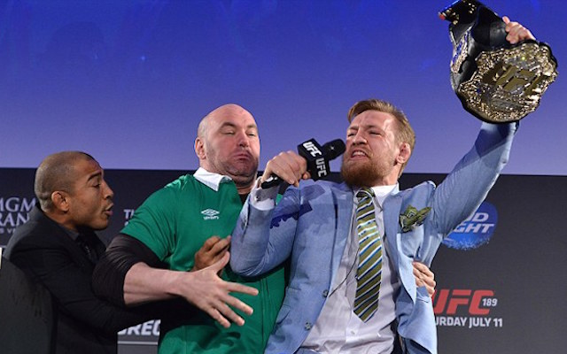 (Video) Conor McGregor steals Jose Aldo's UFC belt and starts hollering in heated press conference