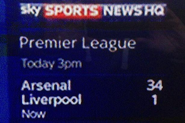 Arsenal 34-1 Liverpool