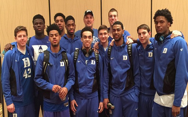 "(Image) Christian Laettner wears ""Haters Gonna Hate"" T-shirt at victory breakfast with Duke team"