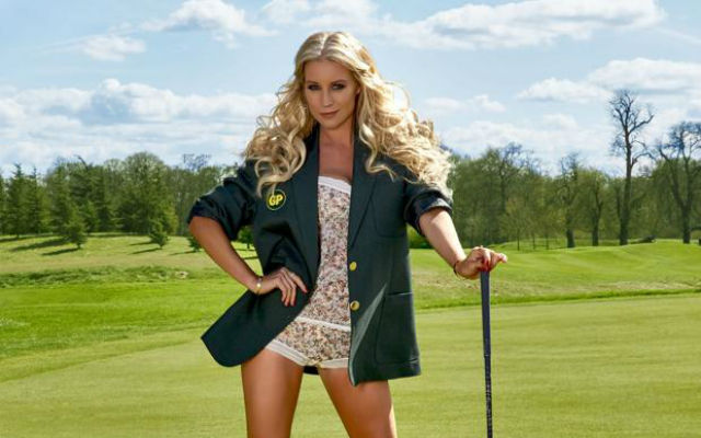(Images) Stunning telly babe Denise Van Outen gets her long legs out for golf magazine cover shoot