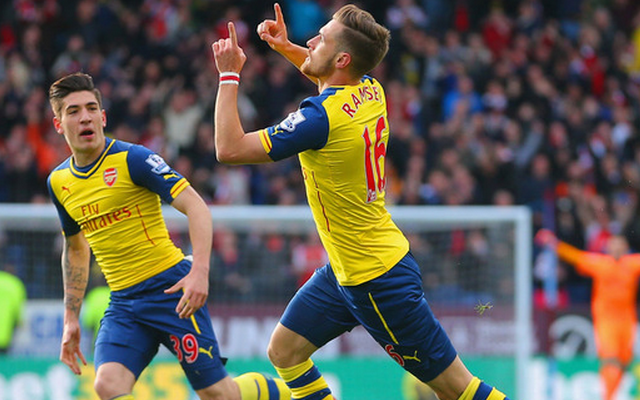 Aaron Ramsey celebrates Arsenal goal at Burnley