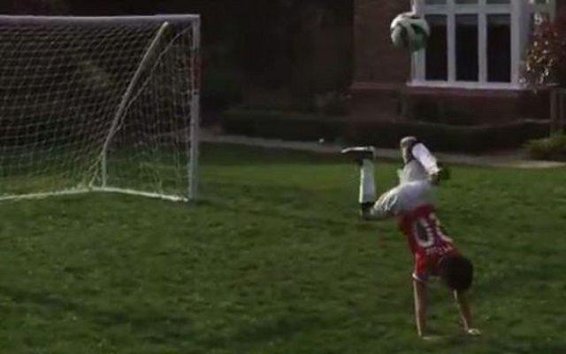 Video: Watch talented son of Manchester United star Robin van Persie score impressive overhead backheel goal…