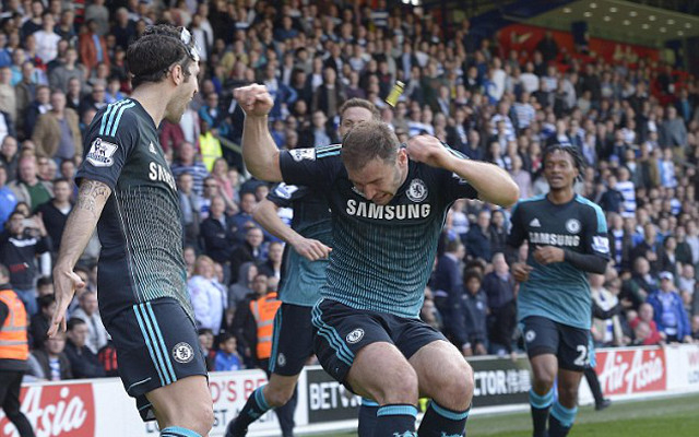 Chelsea's Branislav Ivanovic hit by lighter celebrating goal vs QPR