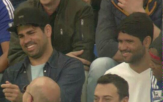 (Video) Diego Costa enjoys Chelsea v Liverpool alongside twin brother in the stands with the fans