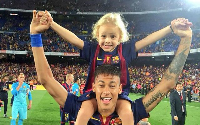 Neymar's son: Twitter users coo over cute three-year-old David Lucca da Silva Santos as Barcelona celebrate Copa del Rey win