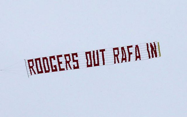 Liverpool banner video: 'Rodgers out, Rafa in', reads message delivered by plane