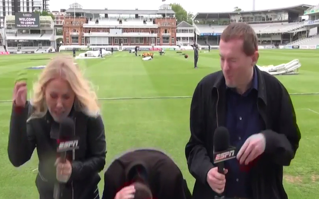 (Video) New Zealand star Tim Southee whacks TV reporter with cricket ball in Lord's outfield