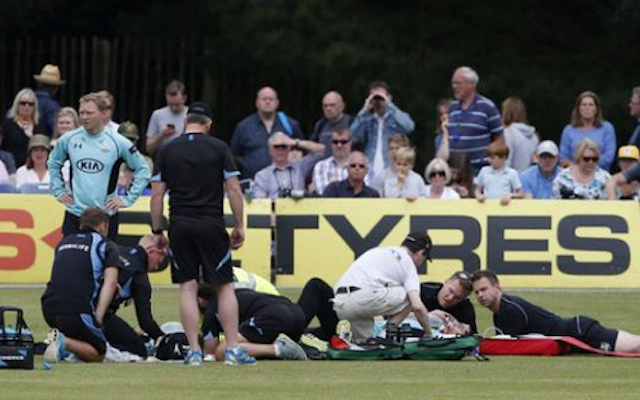 (Images) Moises Henriques, Rory Burns rushed to hospital following sickening collision in English T20 clash