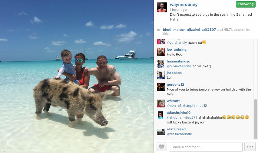 Wayne Rooney PIG Instagram post