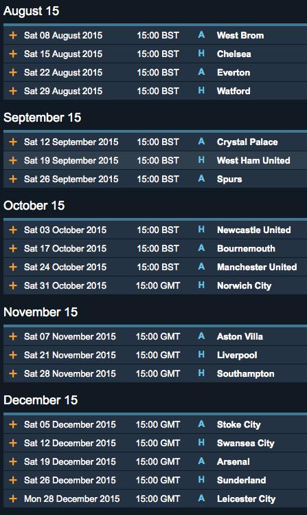 Man City fixtures