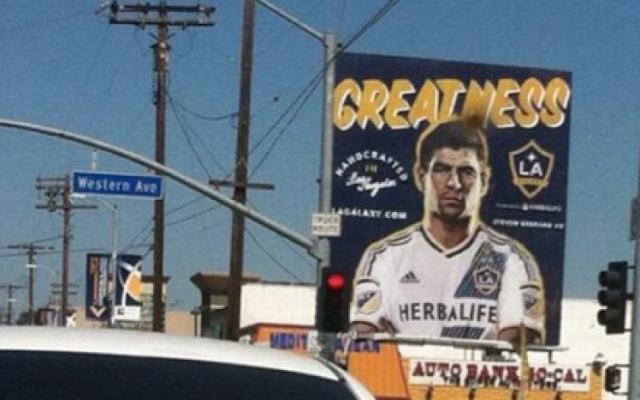 Steven Gerrard models new LA Galaxy kit, Liverpool legend looks MISERABLE in billboard campaign