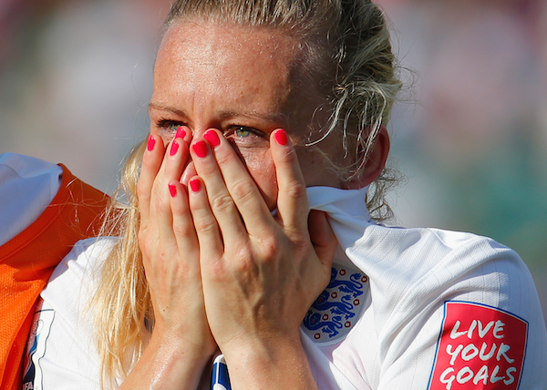 EDMONTON, AB - JULY 01:  Laura Bassett of England is dejected after the FIFA Women's World Cup Semi Final match between Japan and England at the Commonwealth Stadium on July 1, 2015 in Edmonton, Canada.  (Photo by Kevin C. Cox/Getty Images)