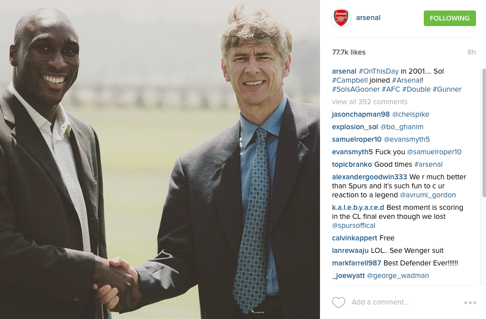 Sol Campbell signs for Arsenal - Instagram post