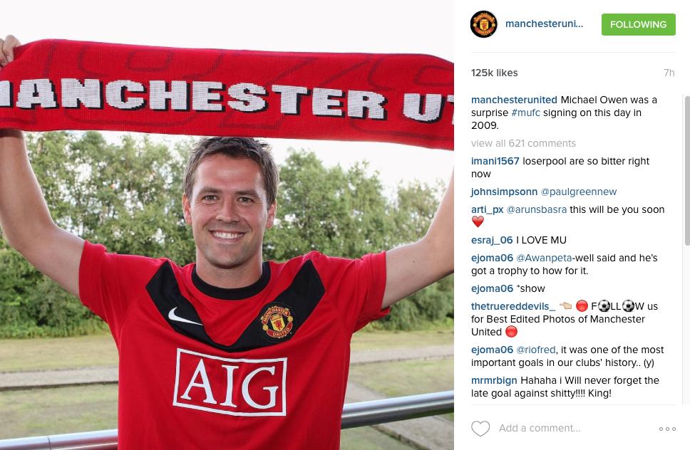 Owen signs for Man United - Instagram post