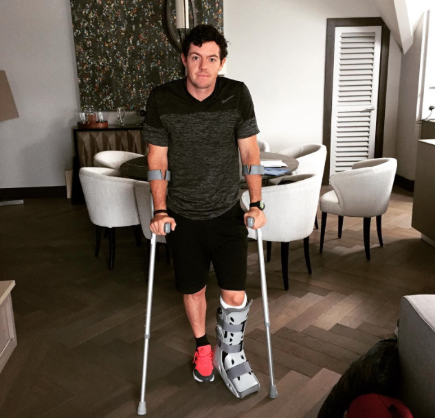 Rory McIlroy crutches
