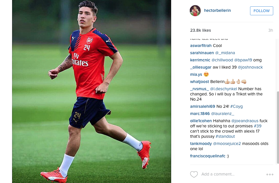 Bellerin on Instagram