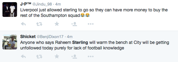 Sterling to Man City- Twitter reaction