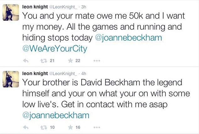 Leon Knight tweets to Joanne Beckham