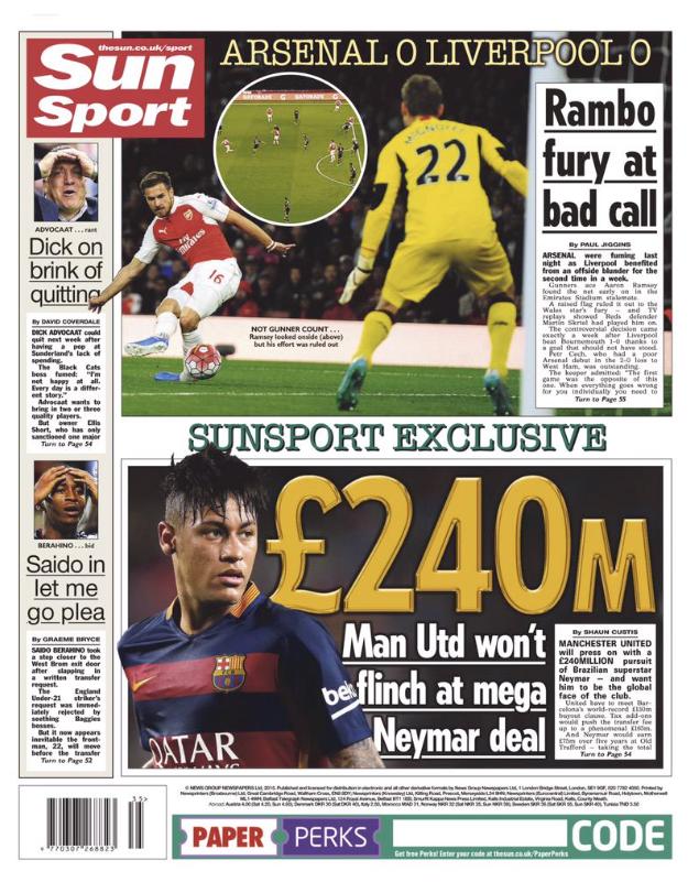 The Sun Neymar splash