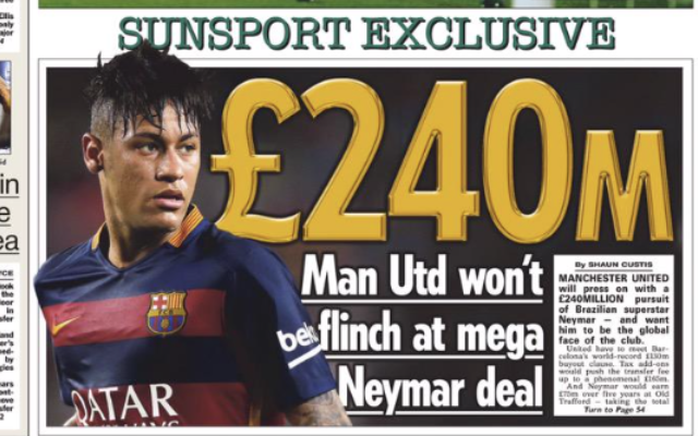 Manchester United ready to spend £240m on Neymar