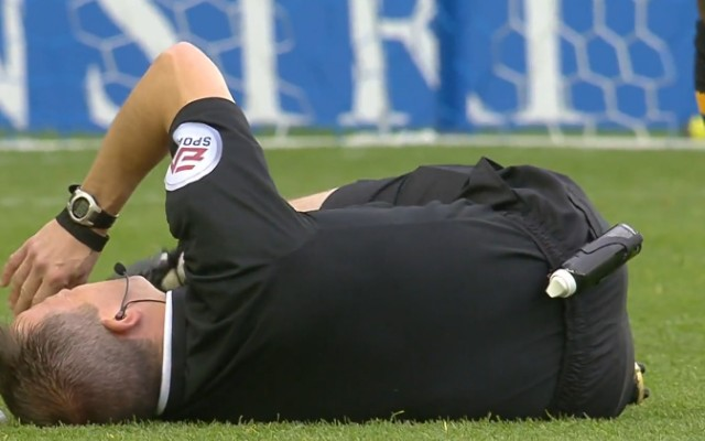Video: Arsenal & England striker injures Keith Stroud, forces referee out of game