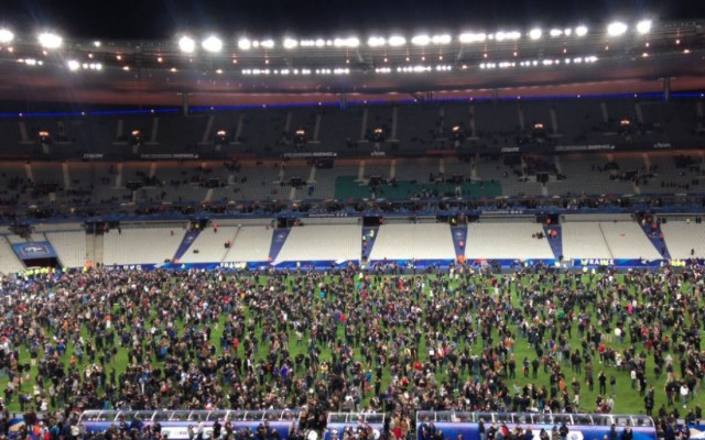 Paris attacks: Chilling moment explosion can be heard from inside Stade de France (video)